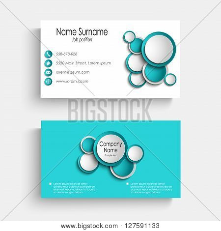 Business card with blue abstract circles template vector eps 10