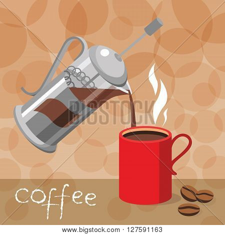 Template design for cafe and restaurants vector illustration with coffee press Cup and place for text. Coffee poured into Cup.