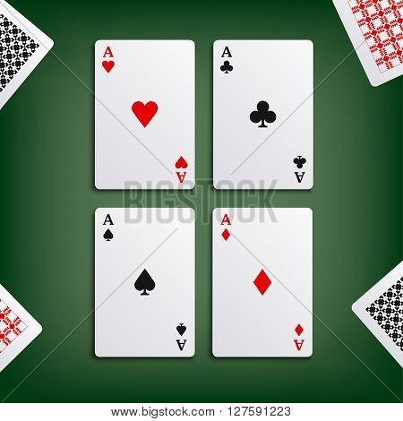 Four aces for poker game vector eps 10