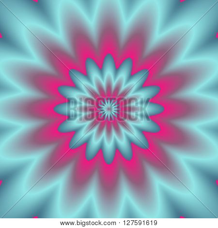 Neon Explosion.  Digital Abstract Image With A Psychedelic Flower Design In Neon Blue, Green, And Pi