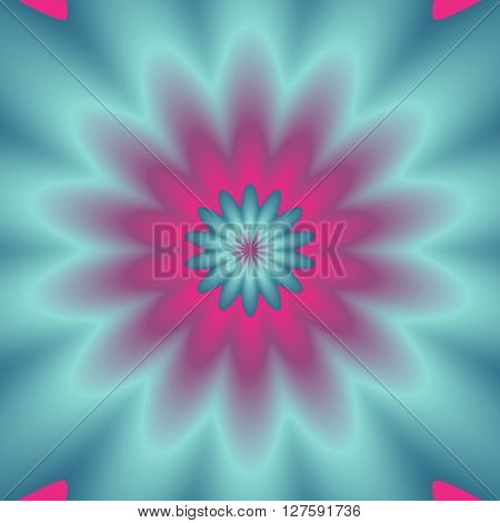 Neon colors explosion. Digital abstract image with a psychedelic flower design in neon blue green and pink.