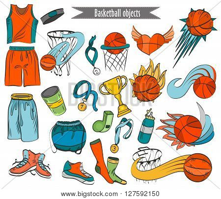 Basketball Colorful Outline Icons In Cartoon Style