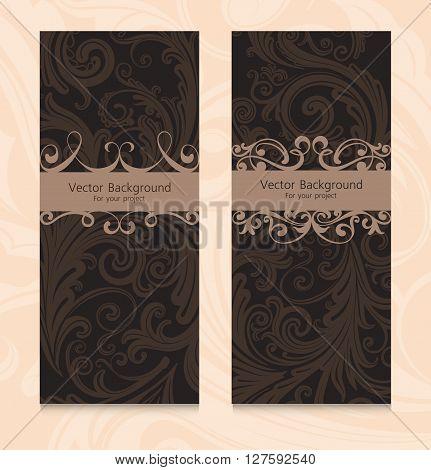 Premium royal vintage victorian set of templates dark brown floral classic backgrounds vector elegant design for restaurant menu, book cover, invitation, brochure, wall paper, backdrops