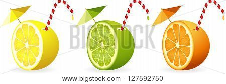 Scalable vectorial image representing a citrus fruit cut in half with straw, isolated on white.