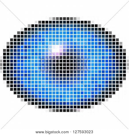 Pixel Maping Of Elliptic Eye With Blue Iris, Light Reflection In Eye