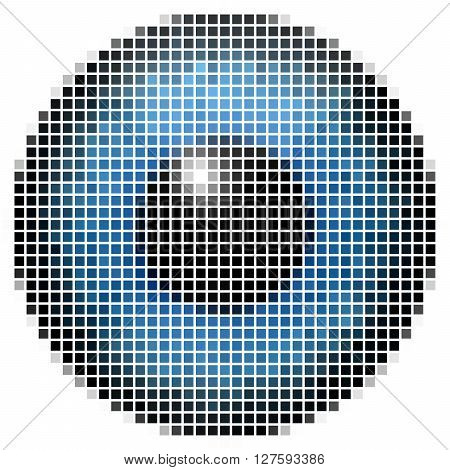 Pixel Maping Of Big Blue Eye. Bright  Iris, Light Reflection In Eye