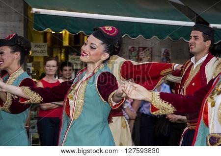 QUARTU S.E., ITALY - July 14, 2012: International Folklore Festival - 26 ^ Sciampitta - Sardinia - Participate in the parade on folck group of Belgrade - Serbia