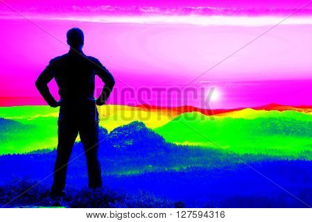 Fantastic Infrared Scan. Tall Hiker In Black On The Rocky Peak. Wonderful Daybreak In Mountains, Hea