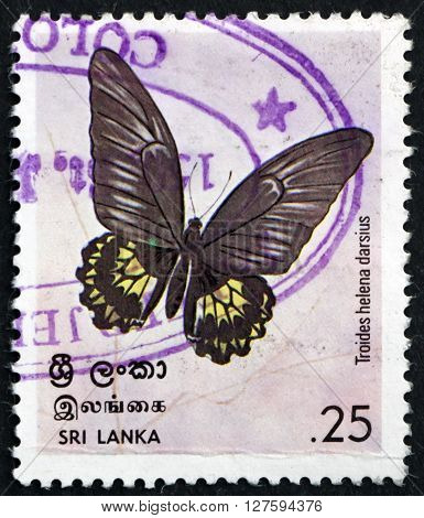 SRI LANKA - CIRCA 1978: a stamp printed in Sri Lanka shows Birdwing Butterfly Troides Helena Darsius Insect circa 1978