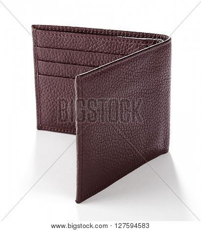 Men's leather wallet isolated on white background.