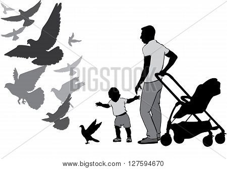 The father walks with the baby in the stroller. They watch and feed the pigeons. The child learns to walk. A child goes for a pigeon. Pigeons fly. Silhouette on a white background.