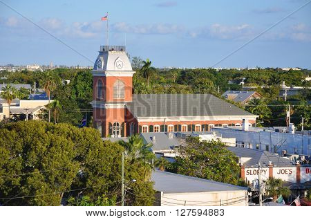 KEY WEST, FL, USA - DEC 20: Key West Old City Hall Aerial view on Greene Street on December 20th, 2012 in Key West, Florida, USA.