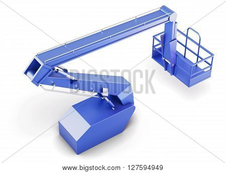 Blue cherry picker platform isolated on white background. 3d rendering.