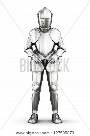 Armor front view isolated on white background. Metal armor. Medieval armor. 3d rendering