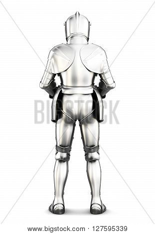 Armor back view isolated on white background. Metal armor. Medieval armor. 3d rendering