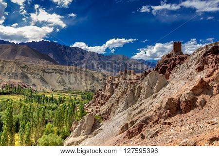 Ruins and Basgo Monastery surrounded with stones and rocks Leh Ladakh Jammu and Kashmir India