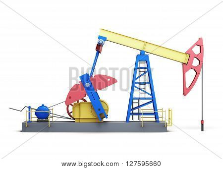 Oil pump-jack isolated on white background. Side view. 3d rendering