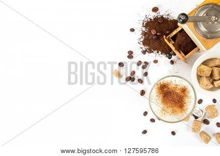 Coffee composition on a white background. Espresso, milk, sugar and a sketch book. space for text