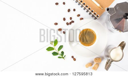 top view of coffee, milk and espresso maker on white background with space for text