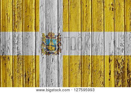 Flag Of Stavropol Krai Painted On Wooden Frame