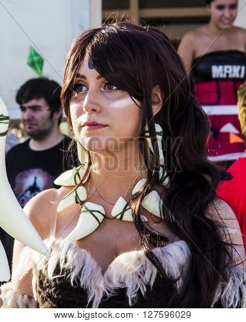QUARTU S.E., ITALY - August 2, 2015: Beach Cosplay Party - costume parade held at the Marlin Club of Poetto Beach - Sardinia - Portrait of a beautiful girl in cosplay costume