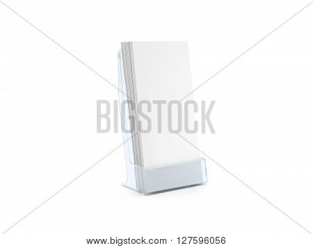 Flyer blue glass plastic holder. Flyer stand. Brochure holding. Flier mock up for the design presentation on the stand isolated on white. Showing show shows flyers design. Empty fliers template.