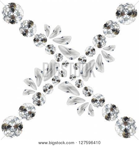 Abstract group of diamonds and crystals on white background