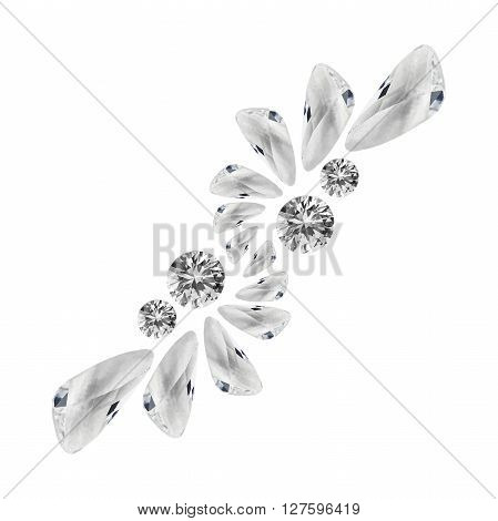 Abstract group of crystals and diamonds on white background