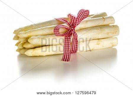 Bundle Of Fresh White Asparagus On A White Background