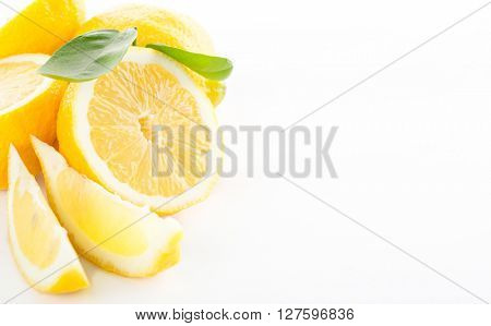 Lemon with leaves isolated