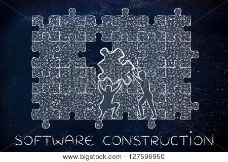 Filling A Gap With Puzzle Piece Of Binary Code, Software Construction