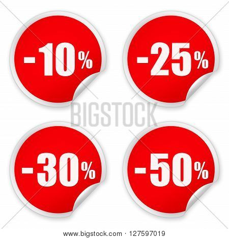 Set of red paper round SALE stickers isolated over white background