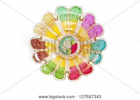 bowl colorful on top view resemble flower