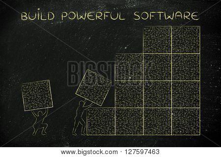 Men Lifting Blocks Of Messy Binary Code, Build Powerful Software