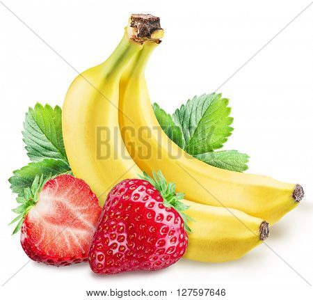 Strawberries and bananas. File contains clipping paths.