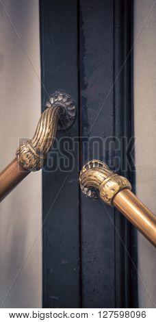Ornate brass door handle in Buenos Aires