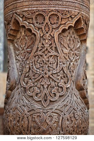 Detail of traditonal carved wooden column, Uzbekistan