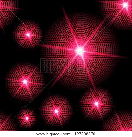 Abstract sparkling background with red starburst in the dark