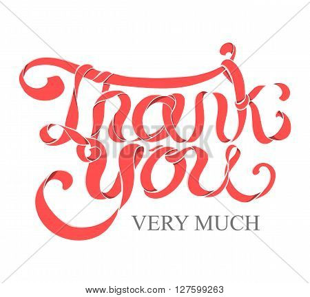 Vector red ribbon hand lettering Thank you text on white background. Very useful for poster greeting banner design