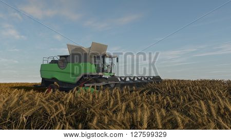 3d illustration of a green grain combine