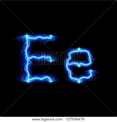Uppercase and lowercase letters E in lighting style
