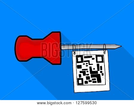 Isolated Note Paper Pin Hanging Qr Code Tag