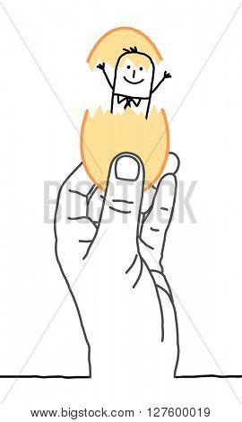 big hand and cartoon businessman -  new concept