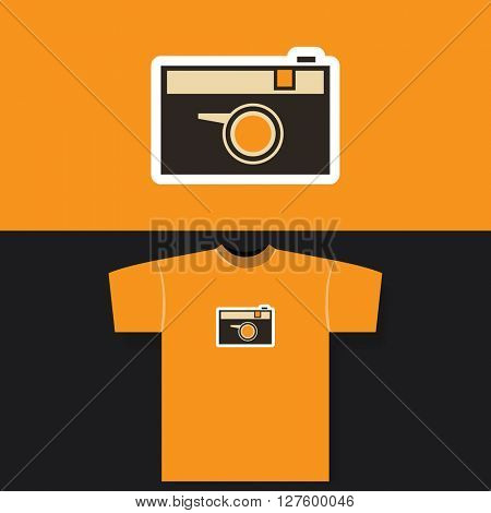 T-shirt Print Design Concept With Vintage Camera Pattern