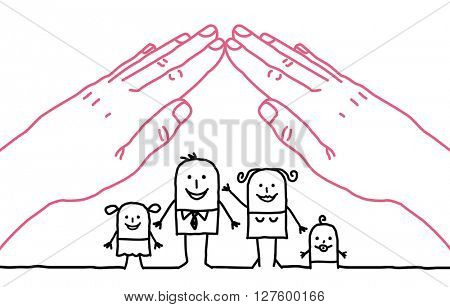 big hands and cartoon family - roof