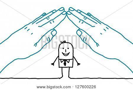 big hands and cartoon businessman - roof