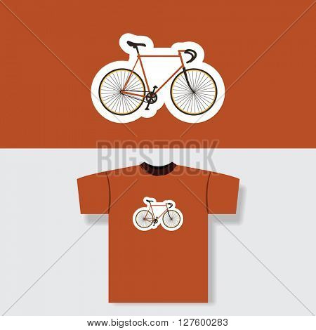 T-shirt Print Design Concept With Vintage Bicycle Pattern