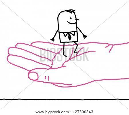 big hand and cartoon businessman - kindness