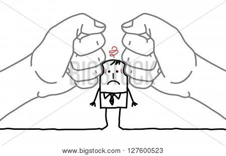 big hands and cartoon businessman - under pressure