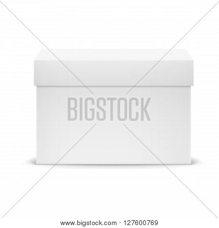 White closed cardboard box isolated on white background